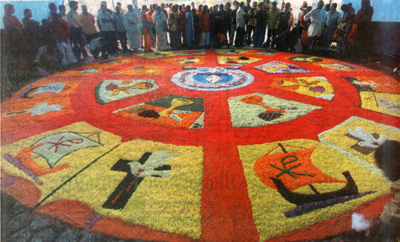 big pookkalam created at St. Francis Assisi Cathedral in connection with onam celebration